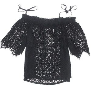 NWT H&M Sheer Lace Off Shoulder Boho Blouse